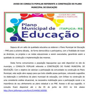 Aviso de Consulta Popular Referente ao Plano Municipal de Educação5